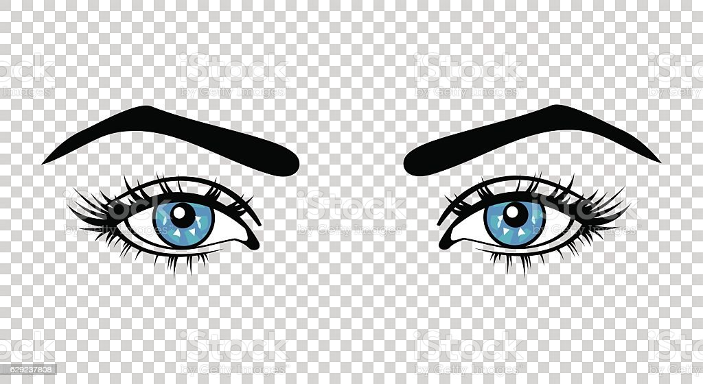 Vector blue female eyes with long lashes and make up – Vektorgrafik