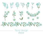 istock Vector blue floral clip art set. Flat trendy illustration with flowers, leaves, branches. Meadow, woodland, forest garden elements isolated on white background. Hand drawn forget-me-not 1173272525