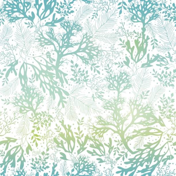 stockillustraties, clipart, cartoons en iconen met vector blue freen seaweed texture seamless pattern background. great for - zeewier