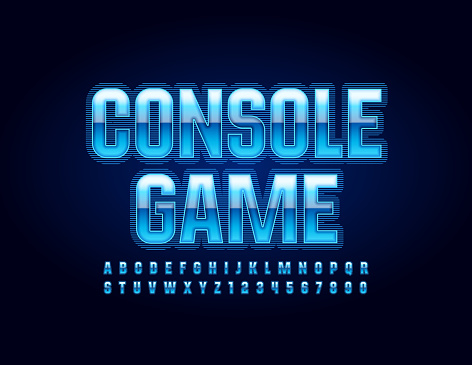 Vector blue glowing emblem Console Game with Uppercase Font. Techno style Alphabet