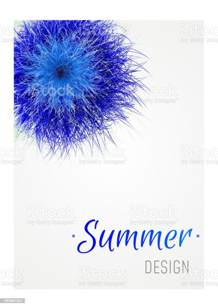 Vector blue grass.  3d Fluffy fur ball. Design summer banner - Royalty-free Backgrounds stock vector