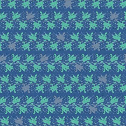 Vector blue green leaves petal seamless pattern