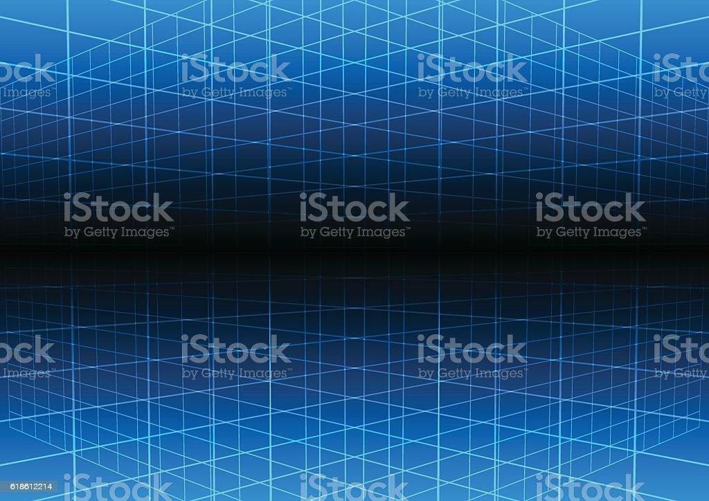 Vector blue grid light technology vector background. vector art illustration