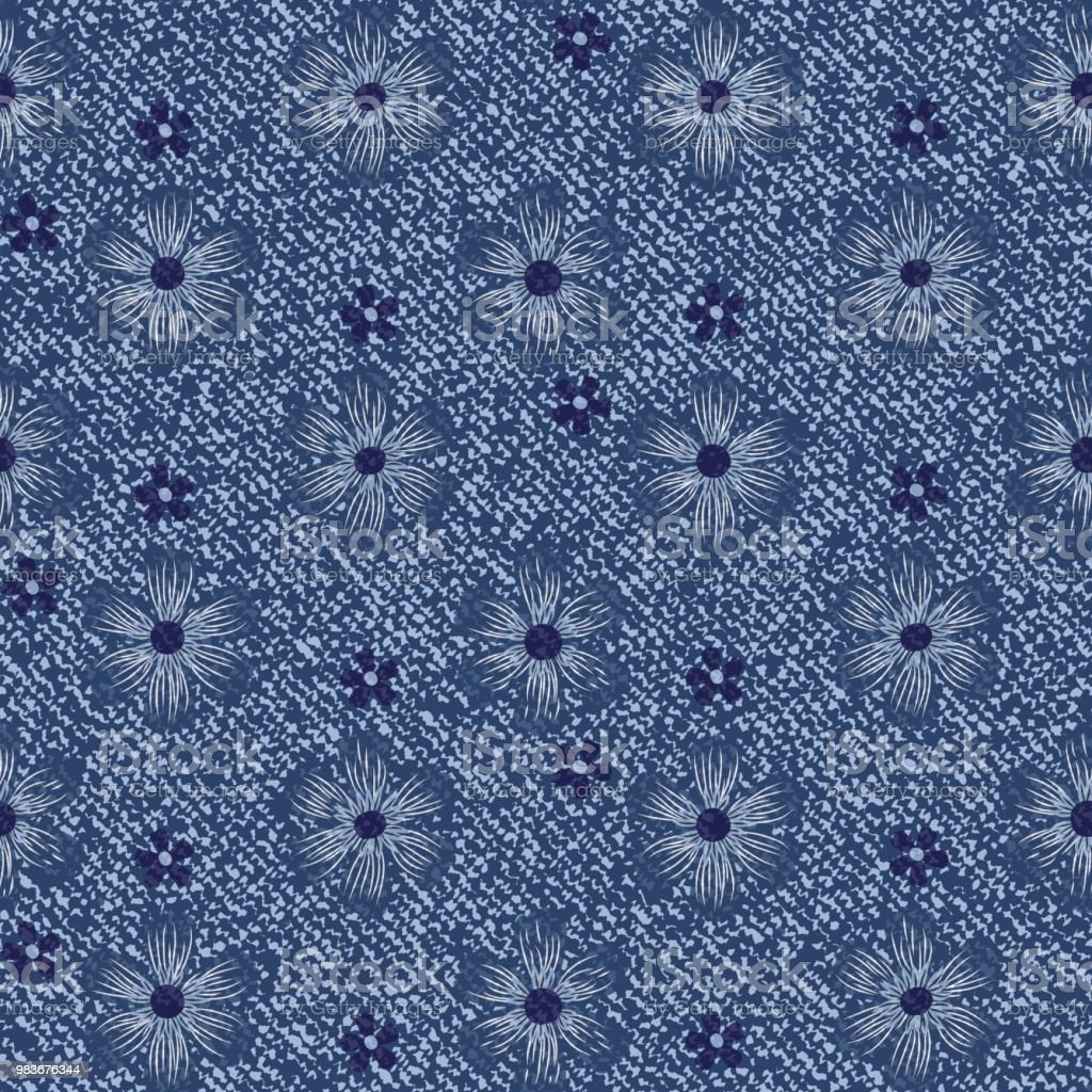 Vector Blue Jeans Background With Flowers Daisies Seamless Pattern