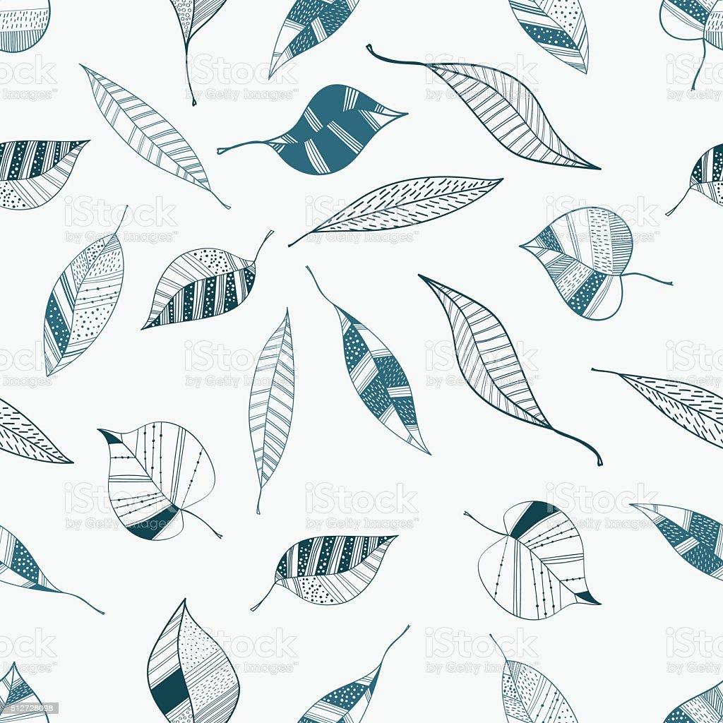 Ilustración de Patrón Sin Costuras Vector De Azul Hoja Para Envolver ...