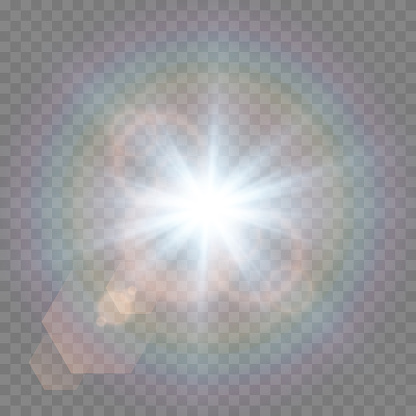 Vector blue light with lens flares. Sun, sun rays, dawn, glare from the sun png. Explosion of blue light. Blue flare png, glare from flare png.