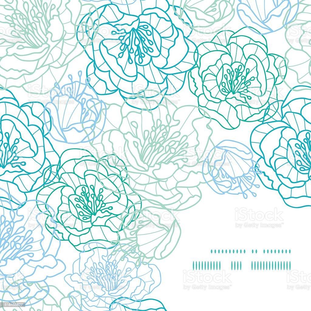Line Art Flower Corner : Vector blue line art flowers frame corner pattern