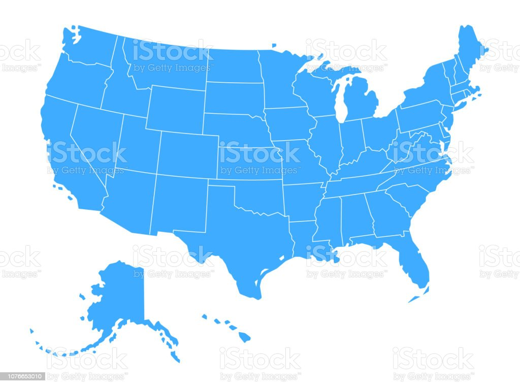 Vector Blue map of The USA royalty-free vector blue map of the usa stock illustration - download image now