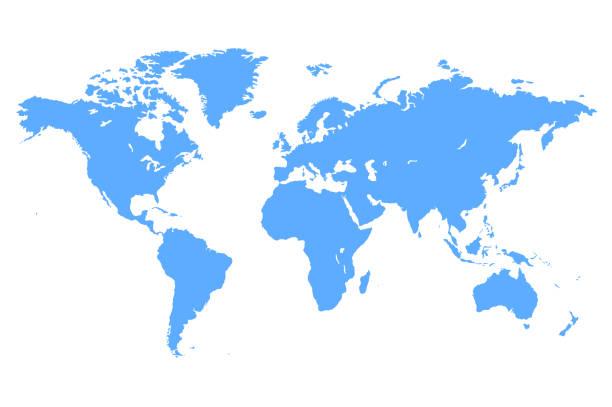 wektorowa niebieska mapa świata - mapa świata stock illustrations