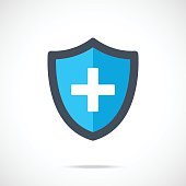 Vector blue medical shield icon. Modern flat design vector illustration