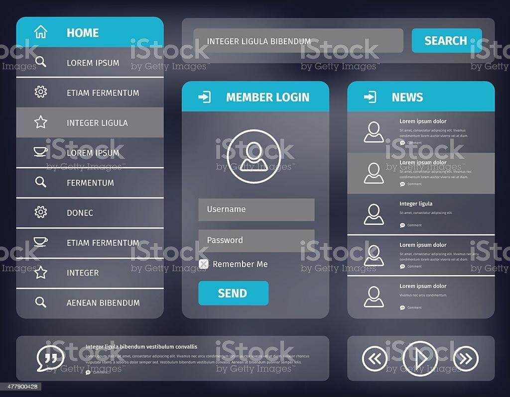 vector blue mobile user interface design vector art illustration