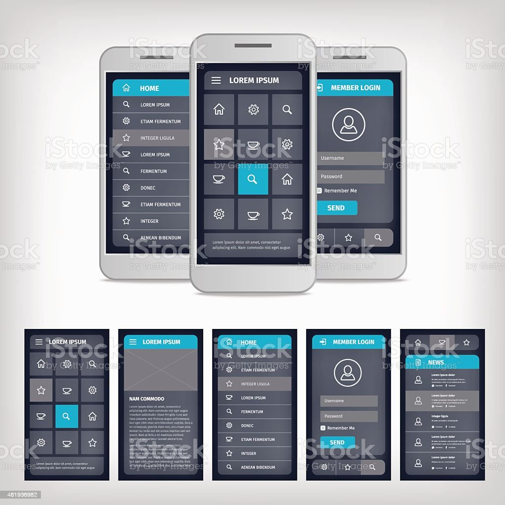 vector blue mobile user interface vector art illustration