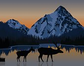 vector blue morning in mountains lake with couple of deers