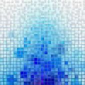 Abstract Mosaic Cloud. Vector Pixel Paint Background. Blue and White Illustration for Banner, Card, Poster, Identity, Web Design.