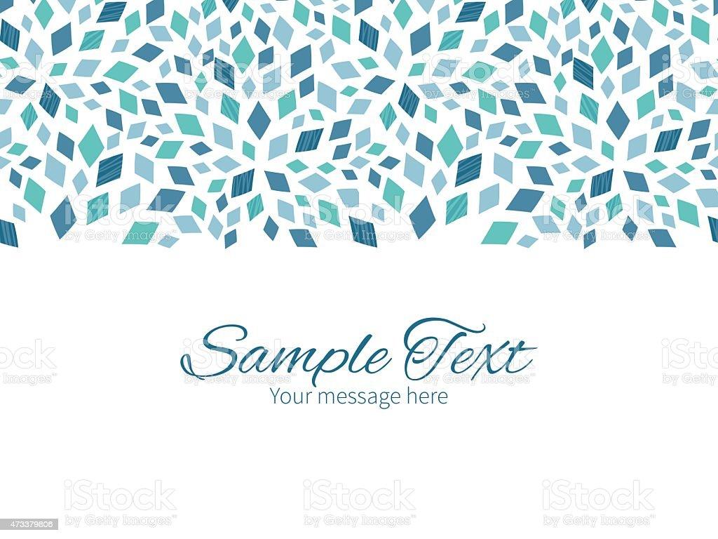 Vector blue mosaic texture horizontal border greeting card invitation template vector art illustration