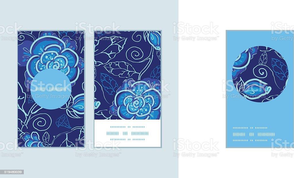 Vecteur Bleu Nuit Fleurs Monture Ronde Verticales Motif Cartes De Visite