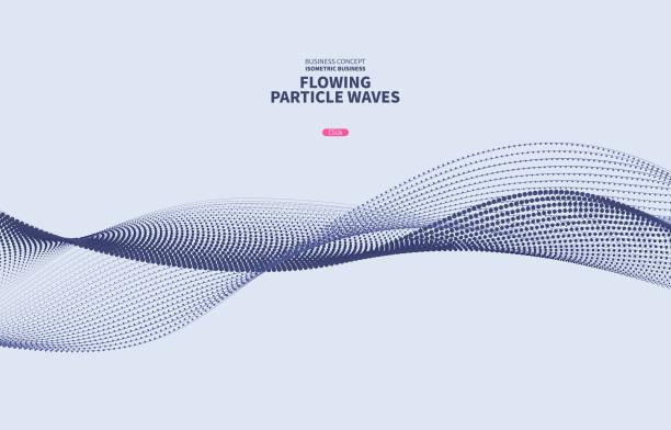 stockillustraties, clipart, cartoons en iconen met vector blauw partikel curve achtergrond - stroom stromend water