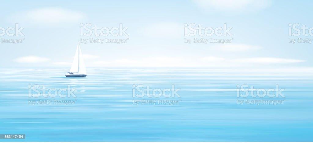 Mer de vecteur bleu, fond de ciel et yacht. - Illustration vectorielle