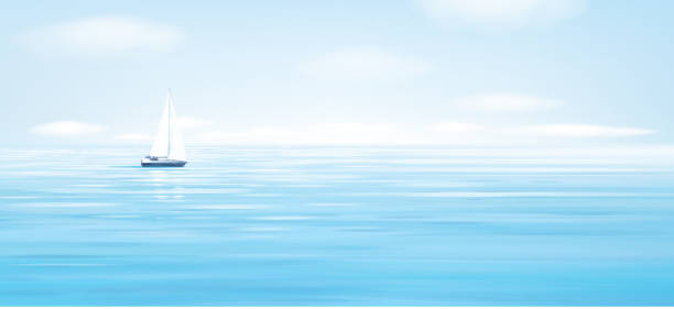 Vector blue sea, sky  background and yacht. Vector blue sea, sky  background and yacht. sailboat stock illustrations