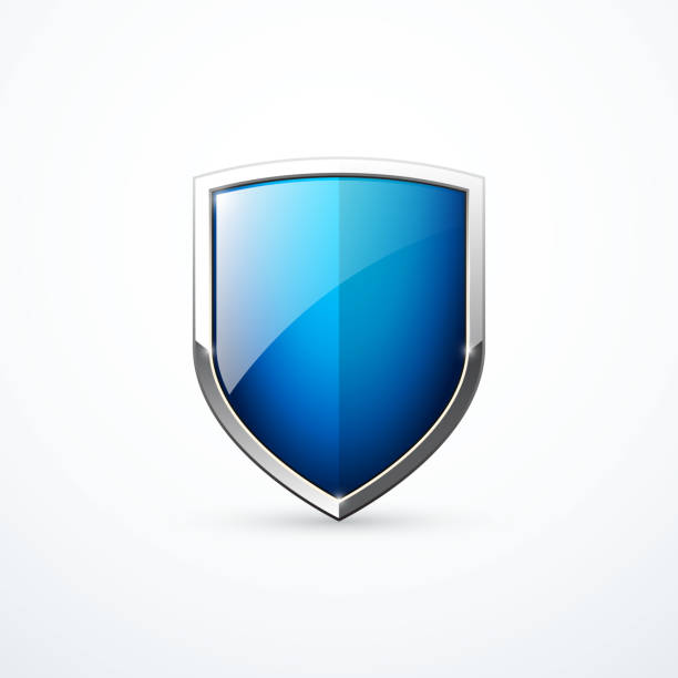 ilustraciones, imágenes clip art, dibujos animados e iconos de stock de icono de escudo azul vectorial - protección