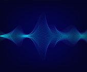 Vector blue shiny sound wave on dark blue background. Tecnology illustration.