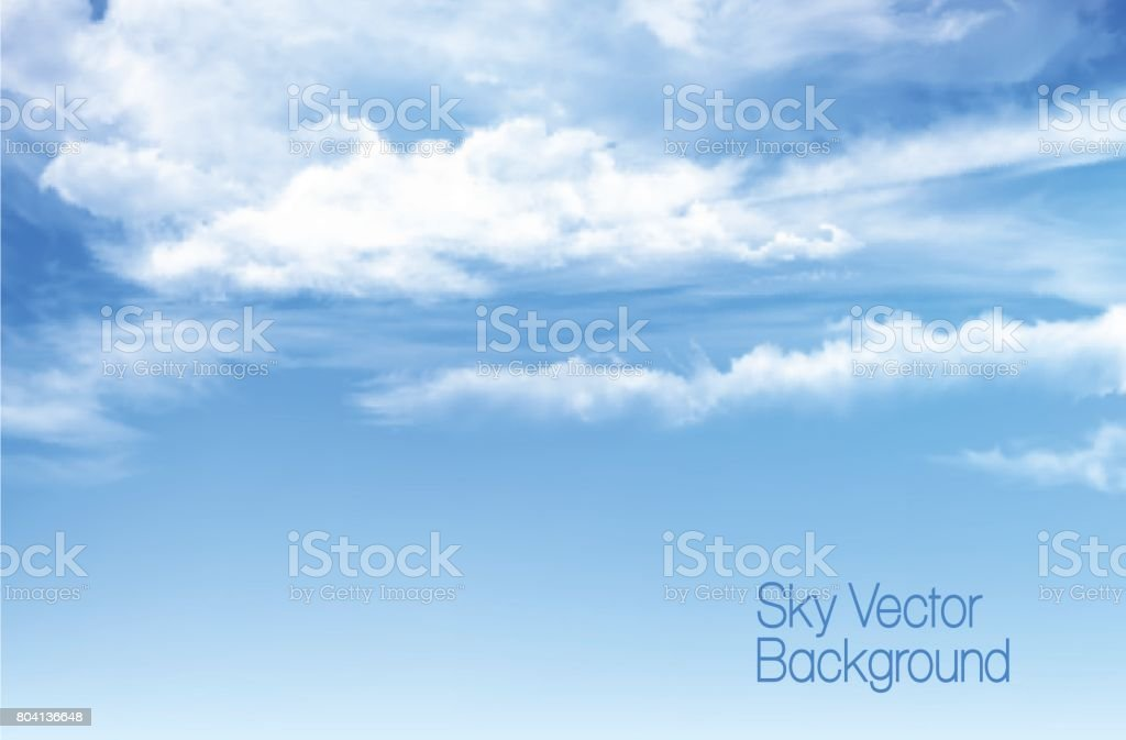 Vector blue sky background with transparent clouds. vector art illustration