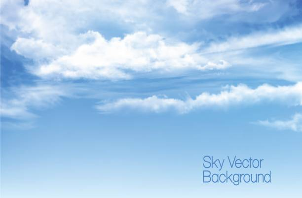 vector blue sky background with transparent clouds. - clouds stock illustrations