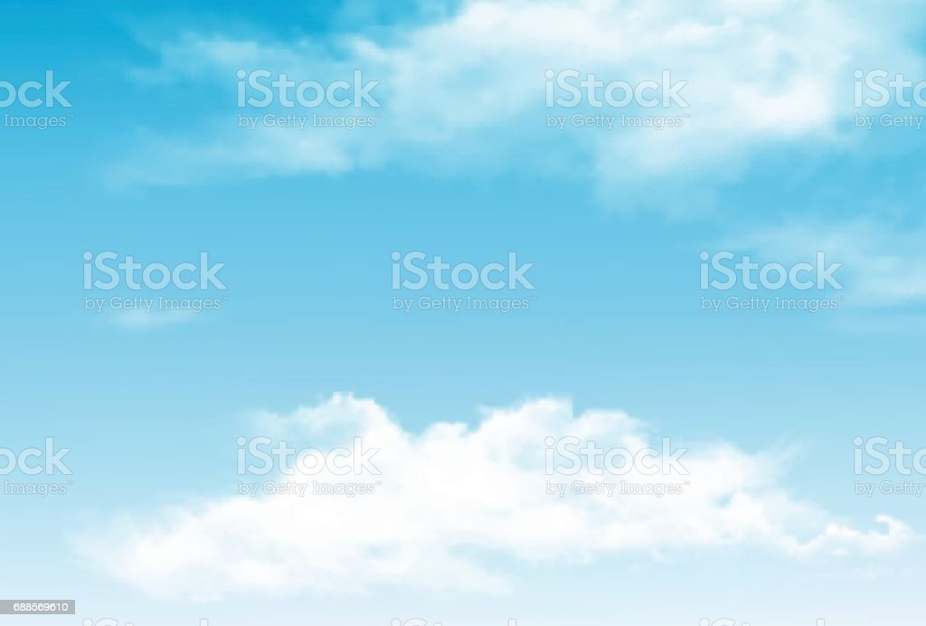 Vector blue sky panorama with transparent clouds. vector art illustration