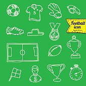 vector blue soccer icon set on white