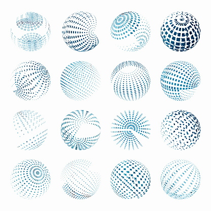 Vector Blue Sphere Pattern Symbol Collection