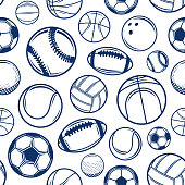 Vector blue sport balls seamless pattern or background