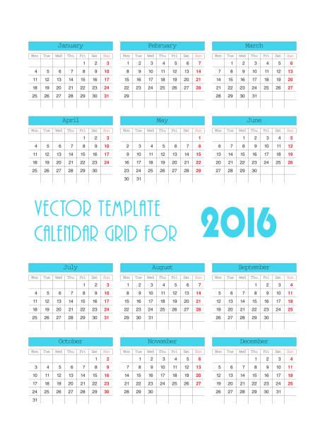 vector blue template calendar grid for 2016 stock vector art more