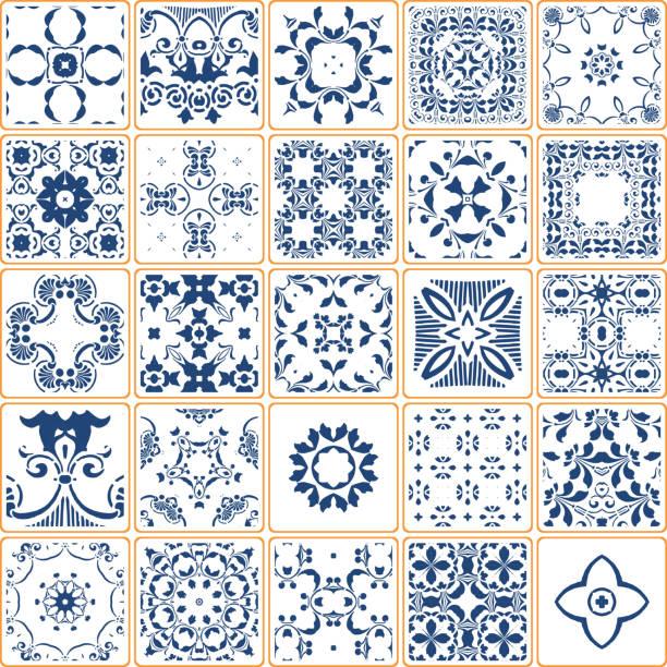 blaue fliesenkollektion vektor - mosaikböden stock-grafiken, -clipart, -cartoons und -symbole