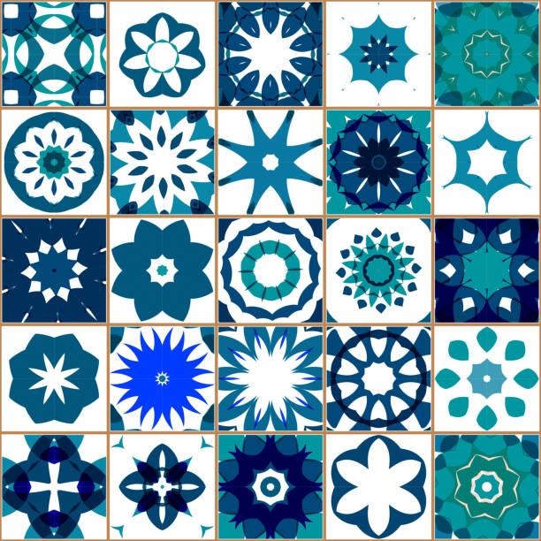 ilustrações de stock, clip art, desenhos animados e ícones de vector blue tile pattern - mosaicos flores