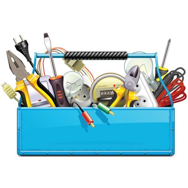 ilustrações, clipart, desenhos animados e ícones de vector azul caixa de ferramentas com ferramentas elétricas - eletricista