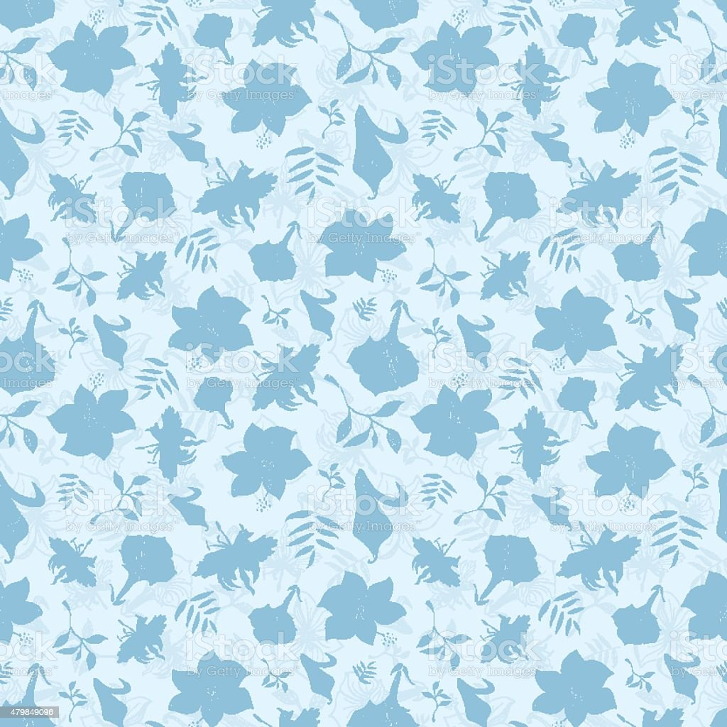 Vector Blue Tropical Flowers Texture Seamless Pattern Stock Vector