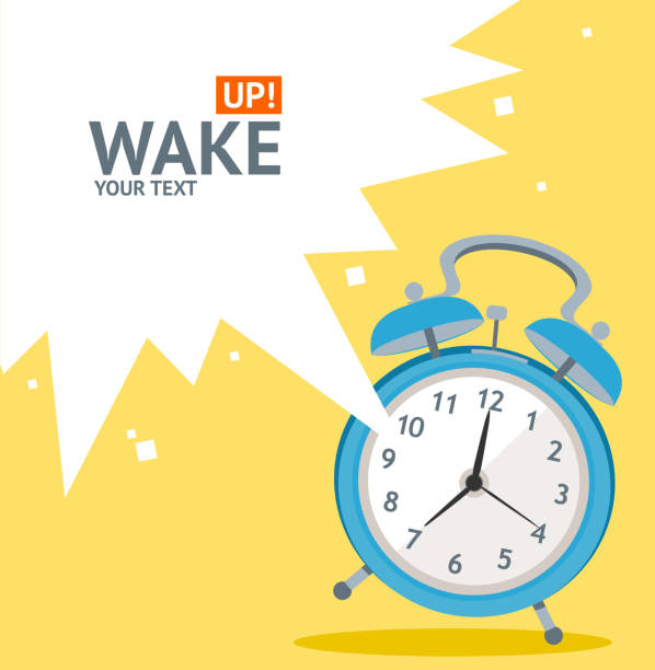 Vector blue wakeup clock card. Flat Design vector art illustration