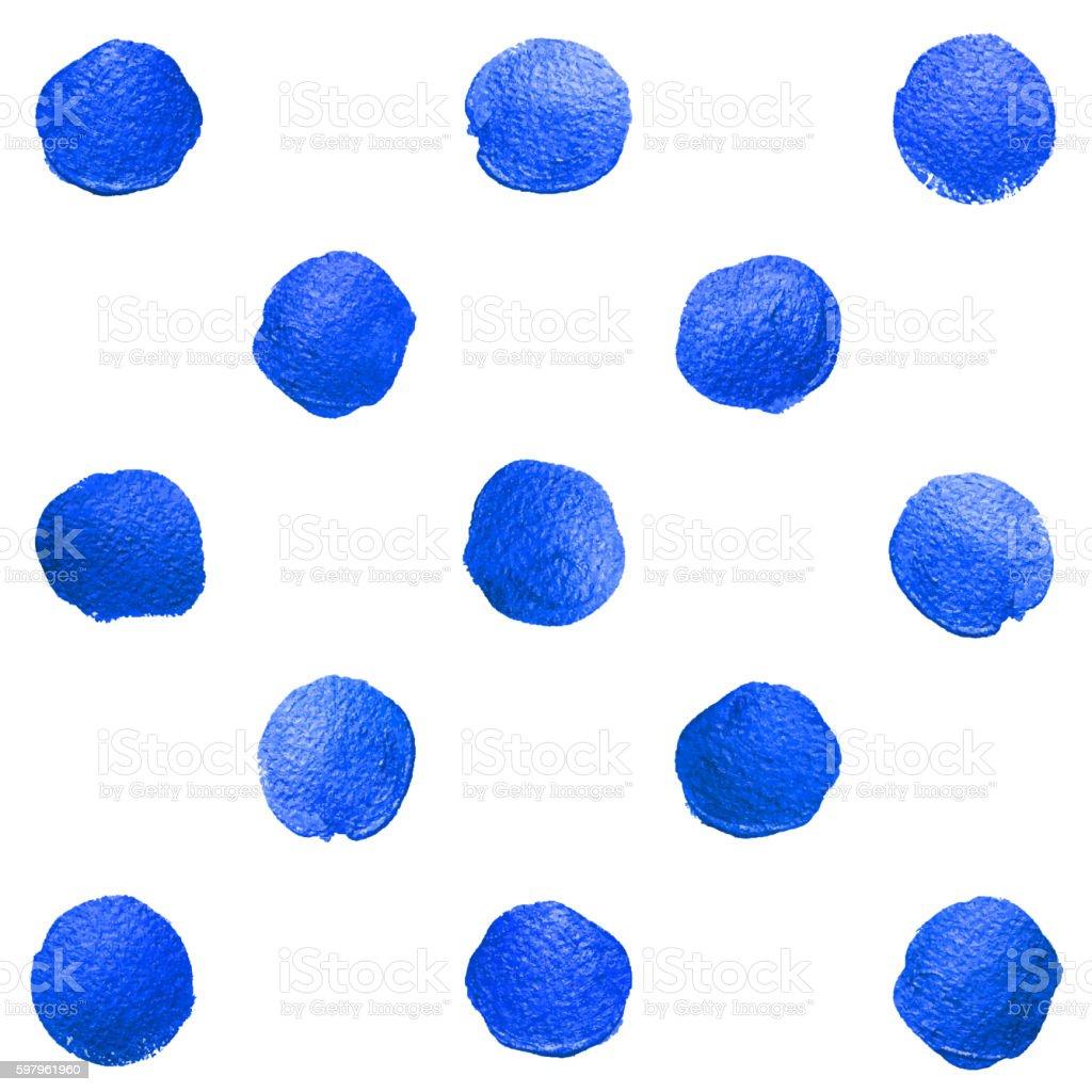 Vector blue watercolor brush polka dot. Oil paint smear vector art illustration