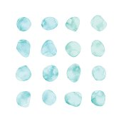 Vector blue watercolor spots. Stained petals. Hand painted circles set.