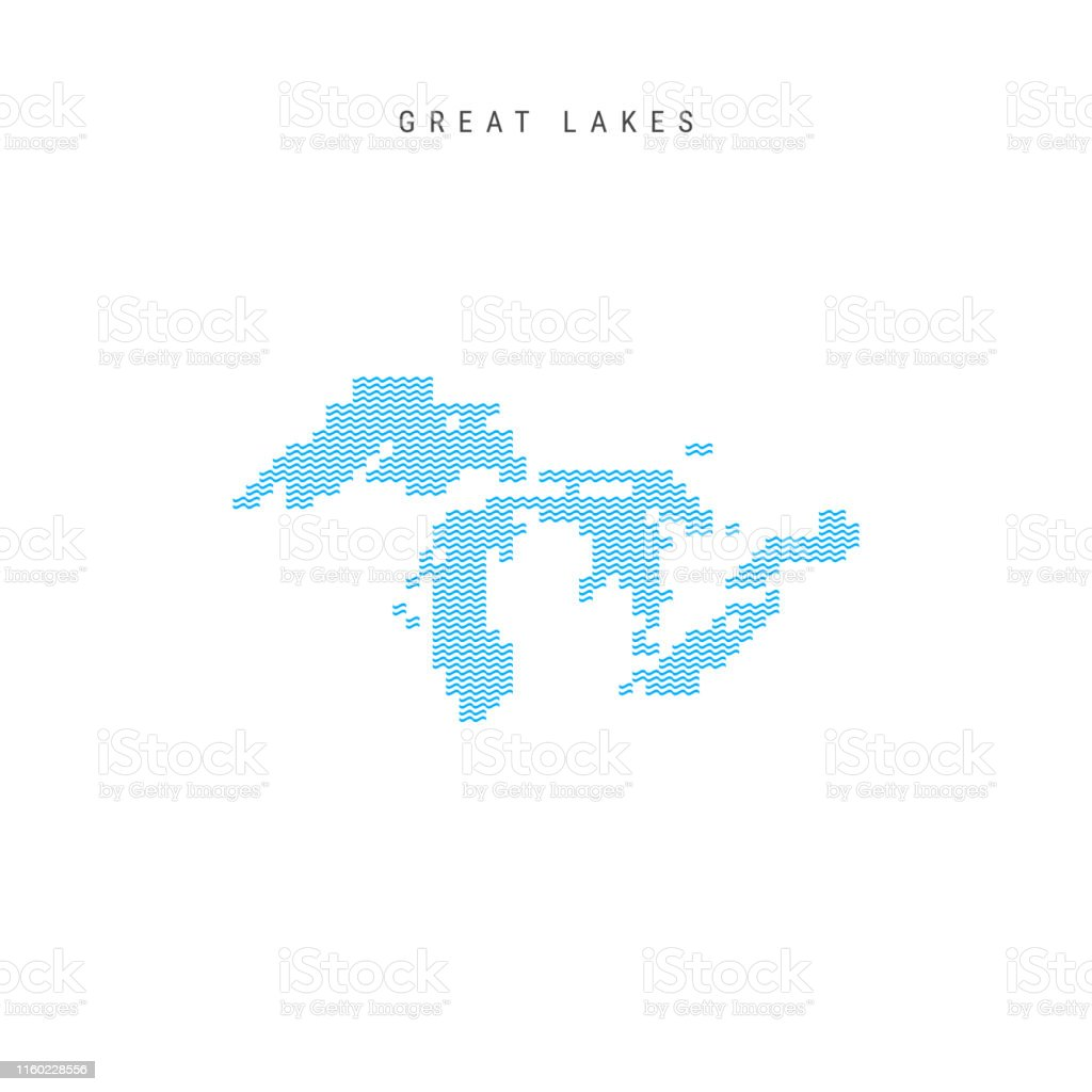 Map Of Canada 5 Great Lakes.Vector Blue Wave Pattern Map Of All The Great Lakes Of North America