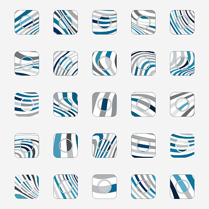Vector blue wave stripes textured square buttons collection