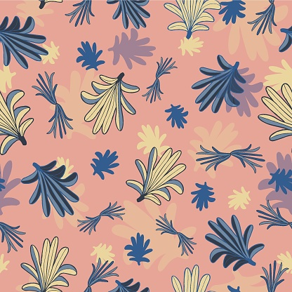 Vector blue yellow leaves, palms seamless pattern