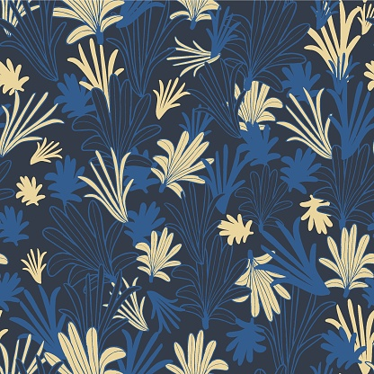 Vector blue yellow leaves tropic seamless pattern