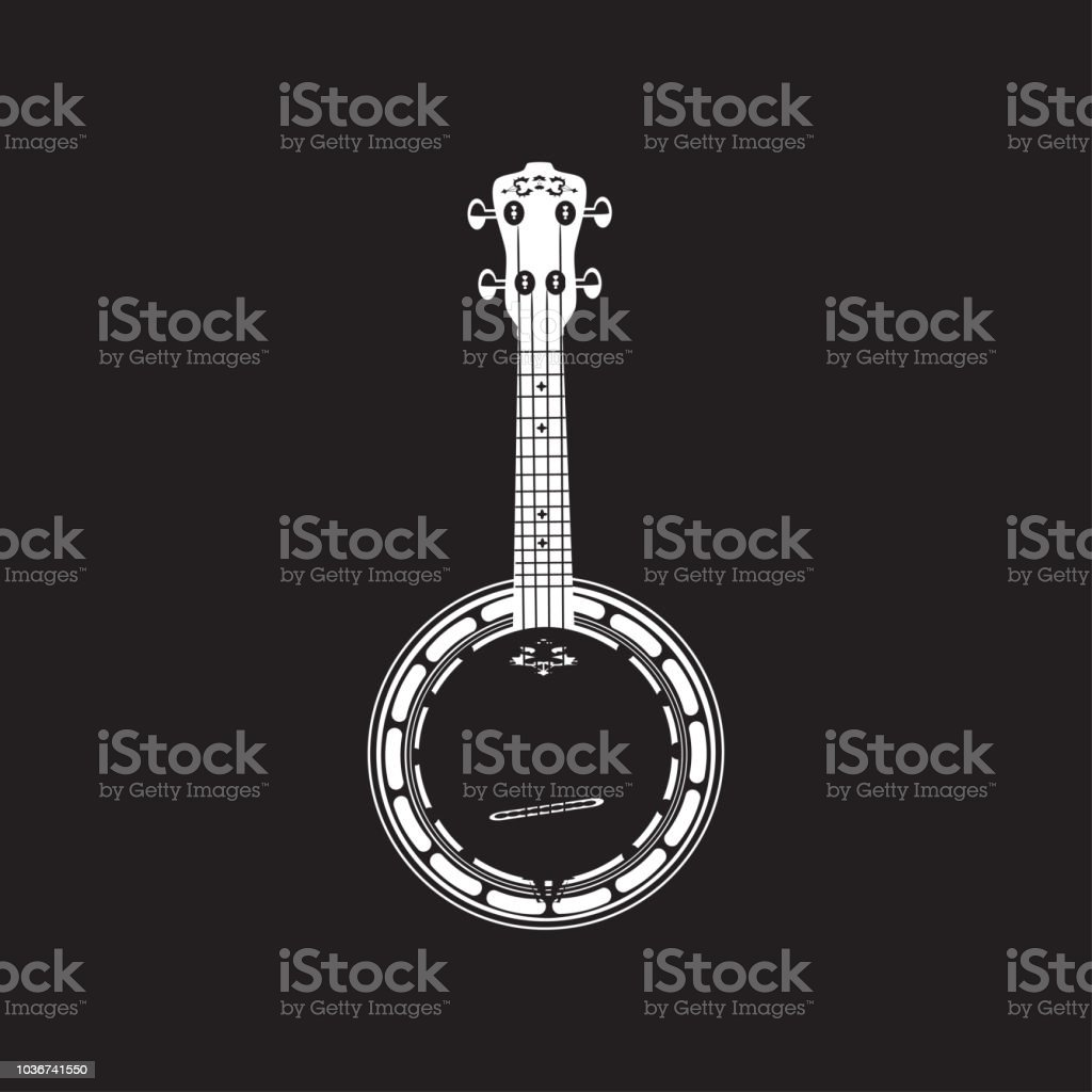 Vector bluegrass banjo, white template vector art illustration