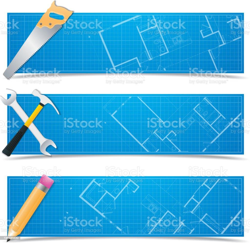 Vector blueprint banners royalty-free stock vector art