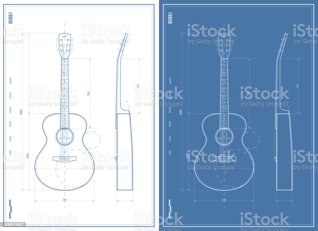 Vector Blueprint with Electric and Acoustic Guitar vector art illustration
