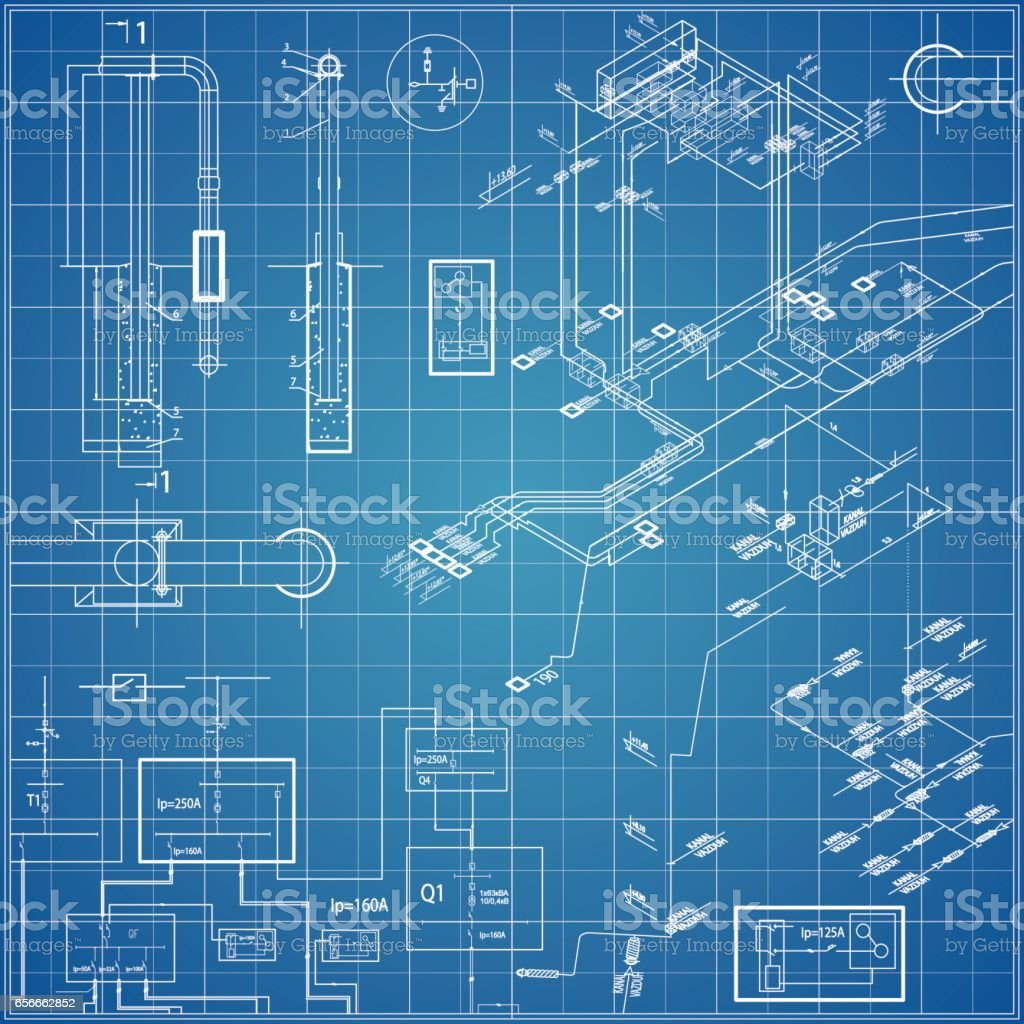 Vector blueprint with electrical vector art illustration