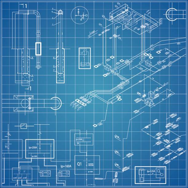 vector blueprint with electrical - electronics stock illustrations, clip art, cartoons, & icons