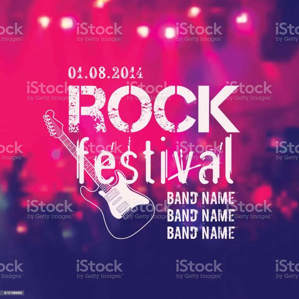 Vector blurred background with rock stage and crowd. Rock festival design template with guitar and place for text. vector art illustration