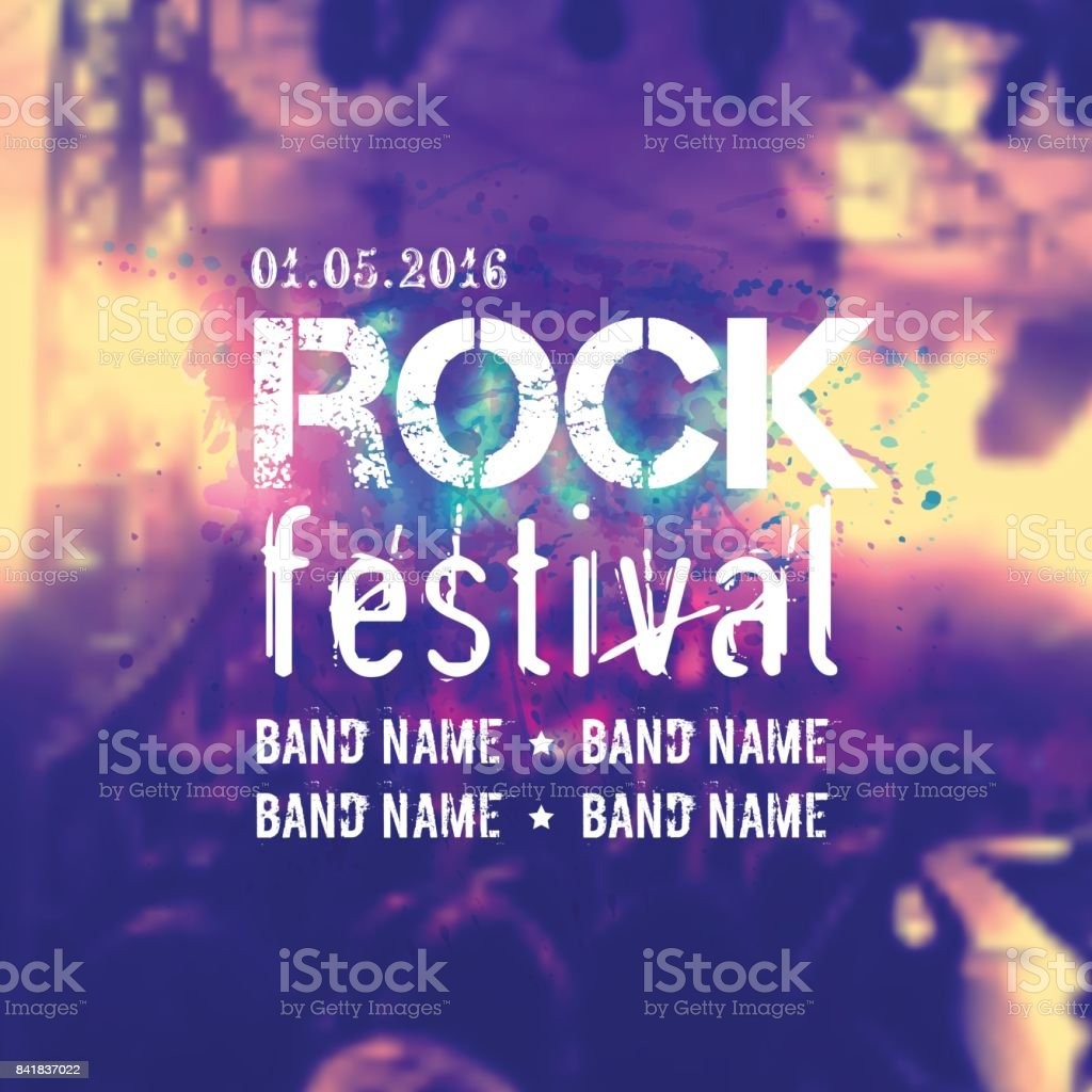 Vector blurred background with rock stage and crowd. Rock festival design template with place for text. vector art illustration